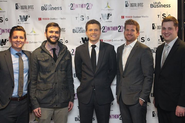 Paxton Gray, Josh Moody, Wayne Sleight, Chris Bennett, and Andrew Yeager at the Utah Business 20 in Their 20s banquet