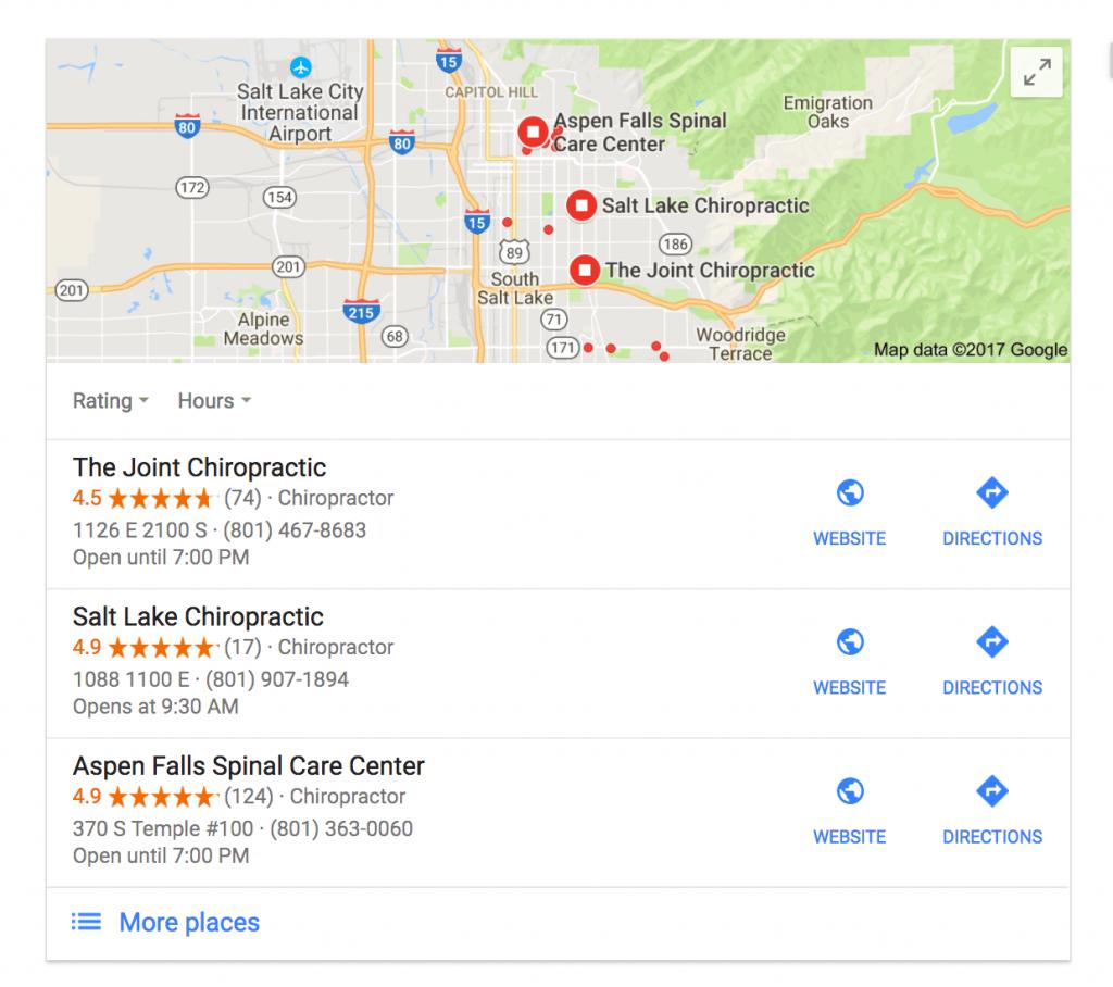 Chiropractic SEO Local search box