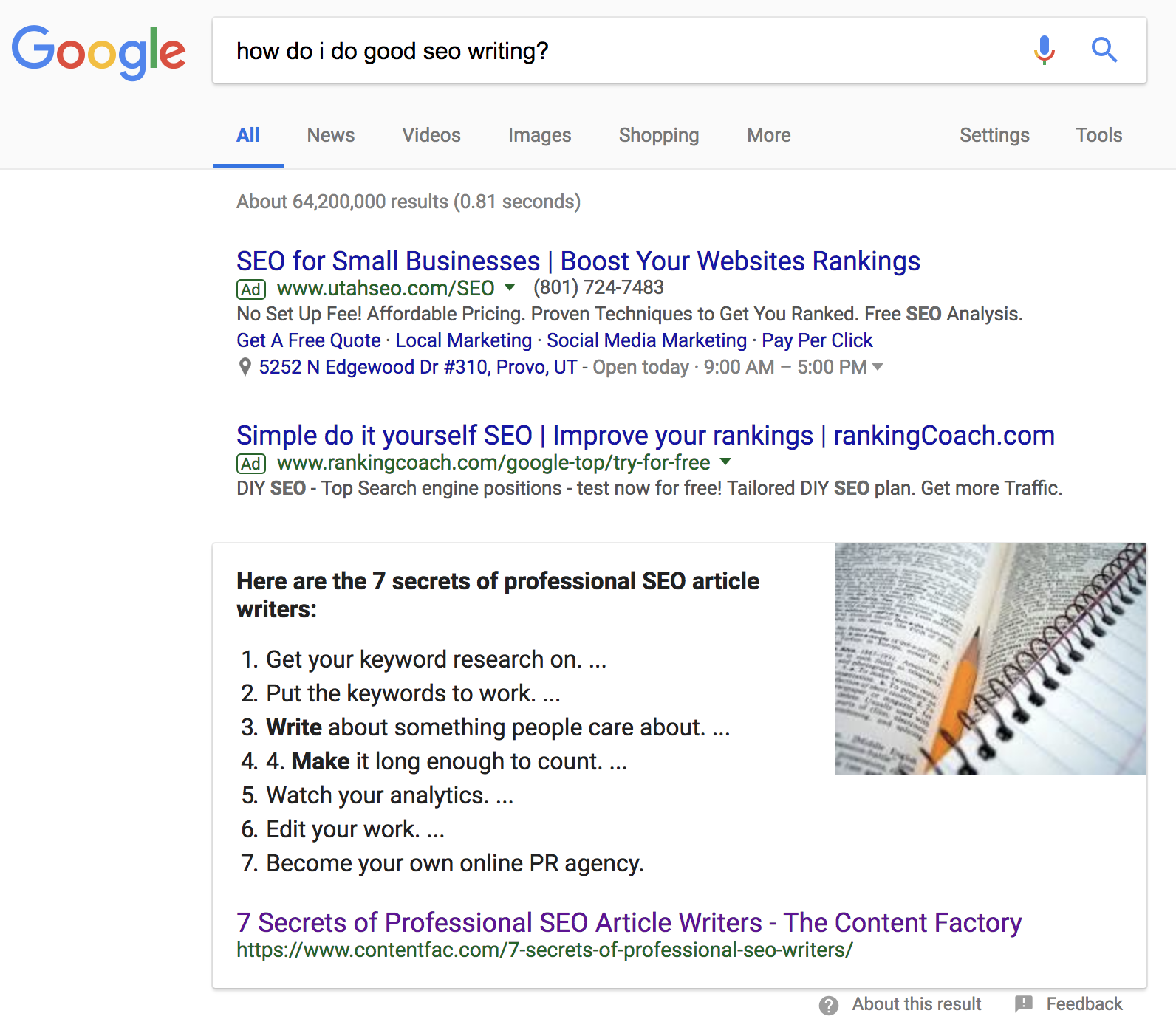 seo writing featured snippet
