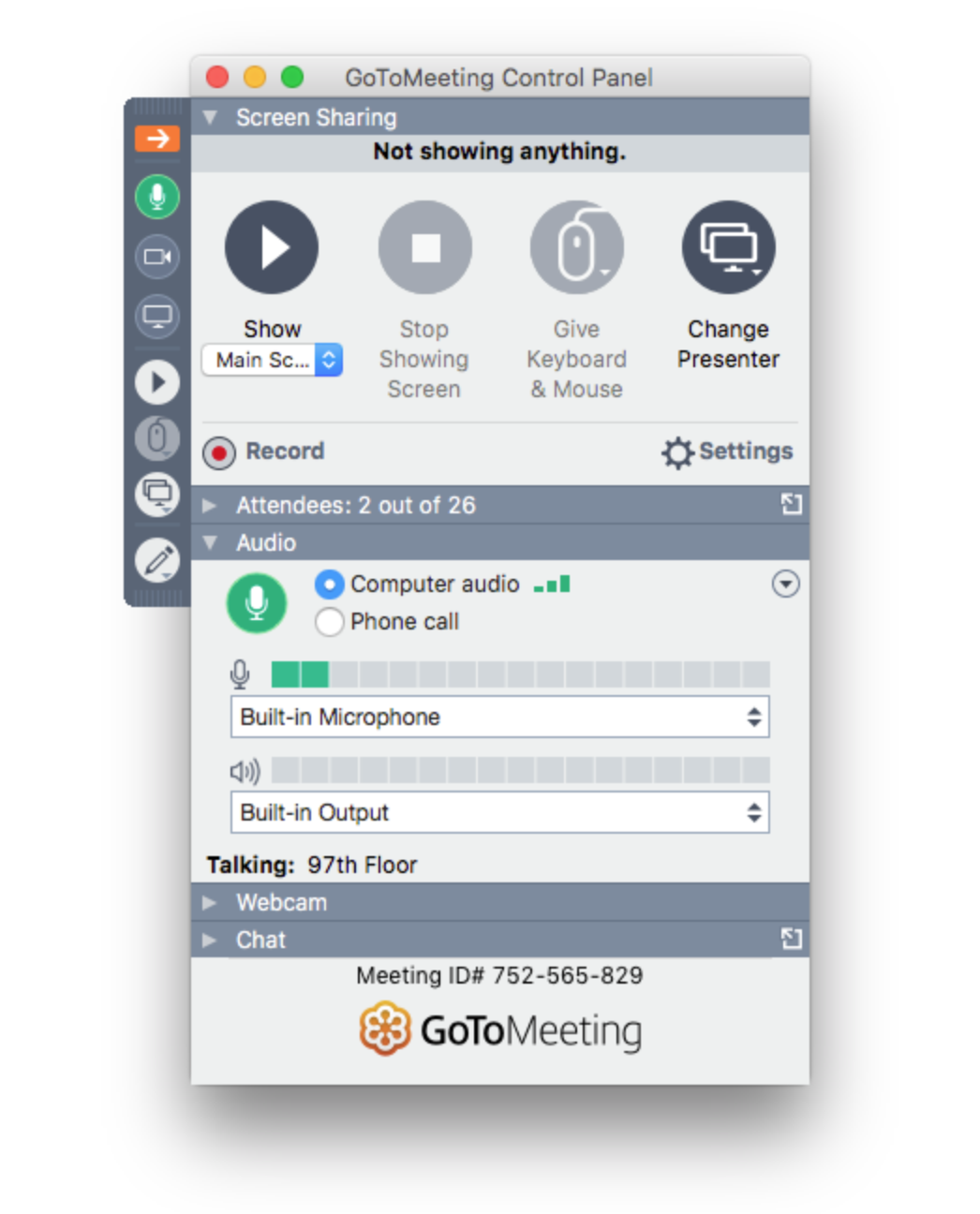 The GoToMeeting control panel