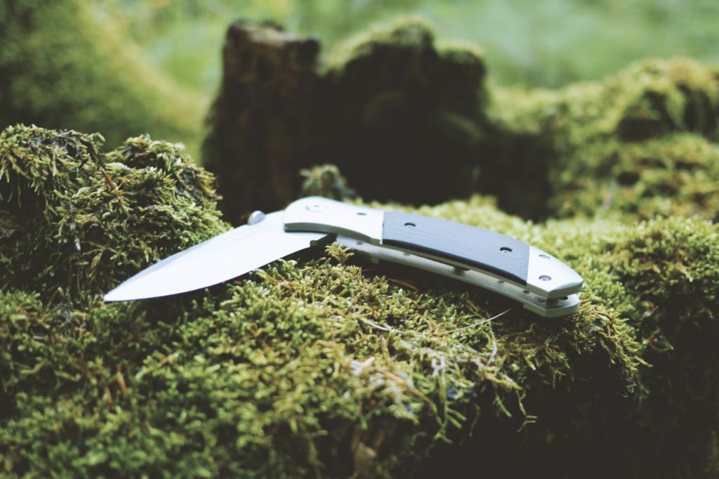 knife on moss