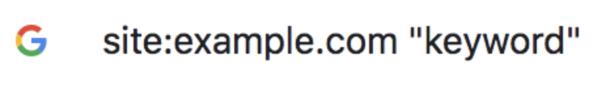 """site:example.com """"keyword"""""""