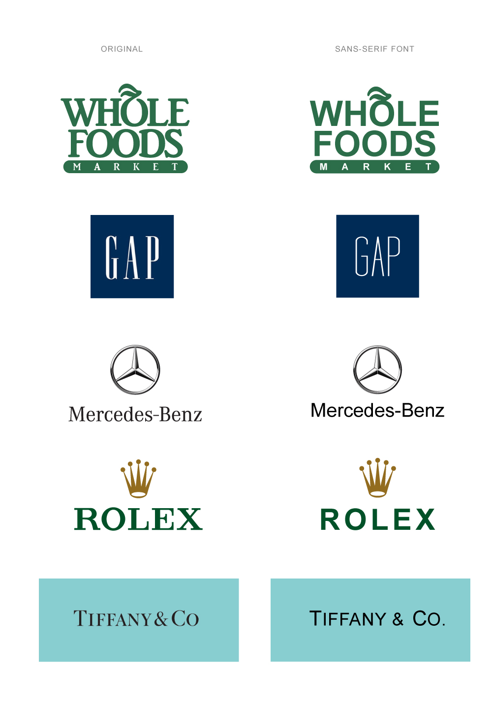 brand logos with and without serif typography