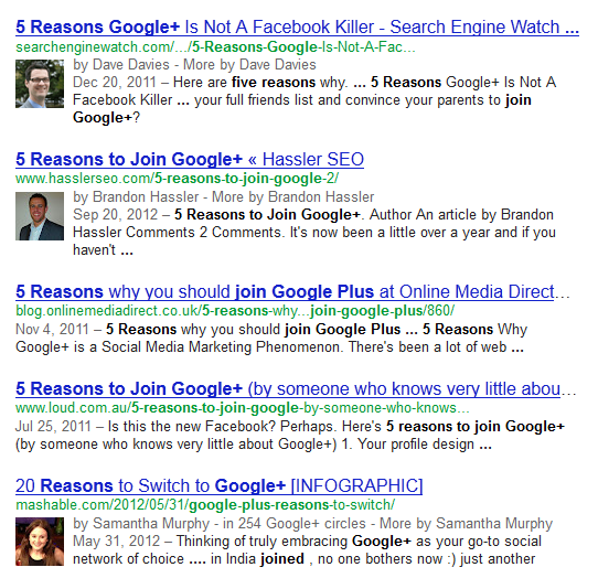 Google Authorship in Results