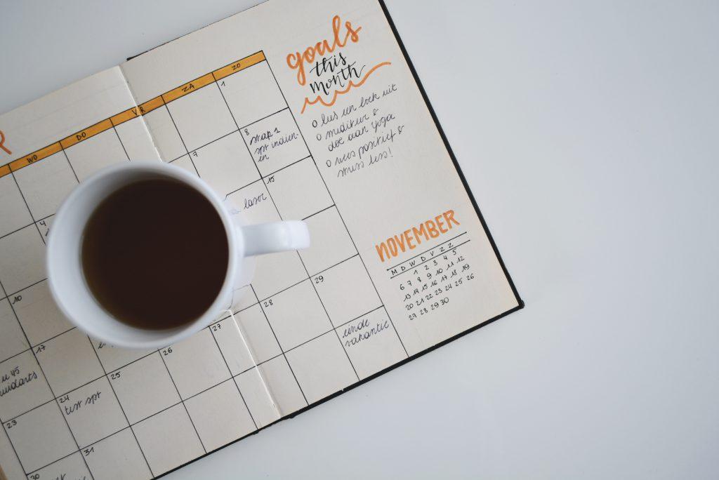 coffee cup on calendar