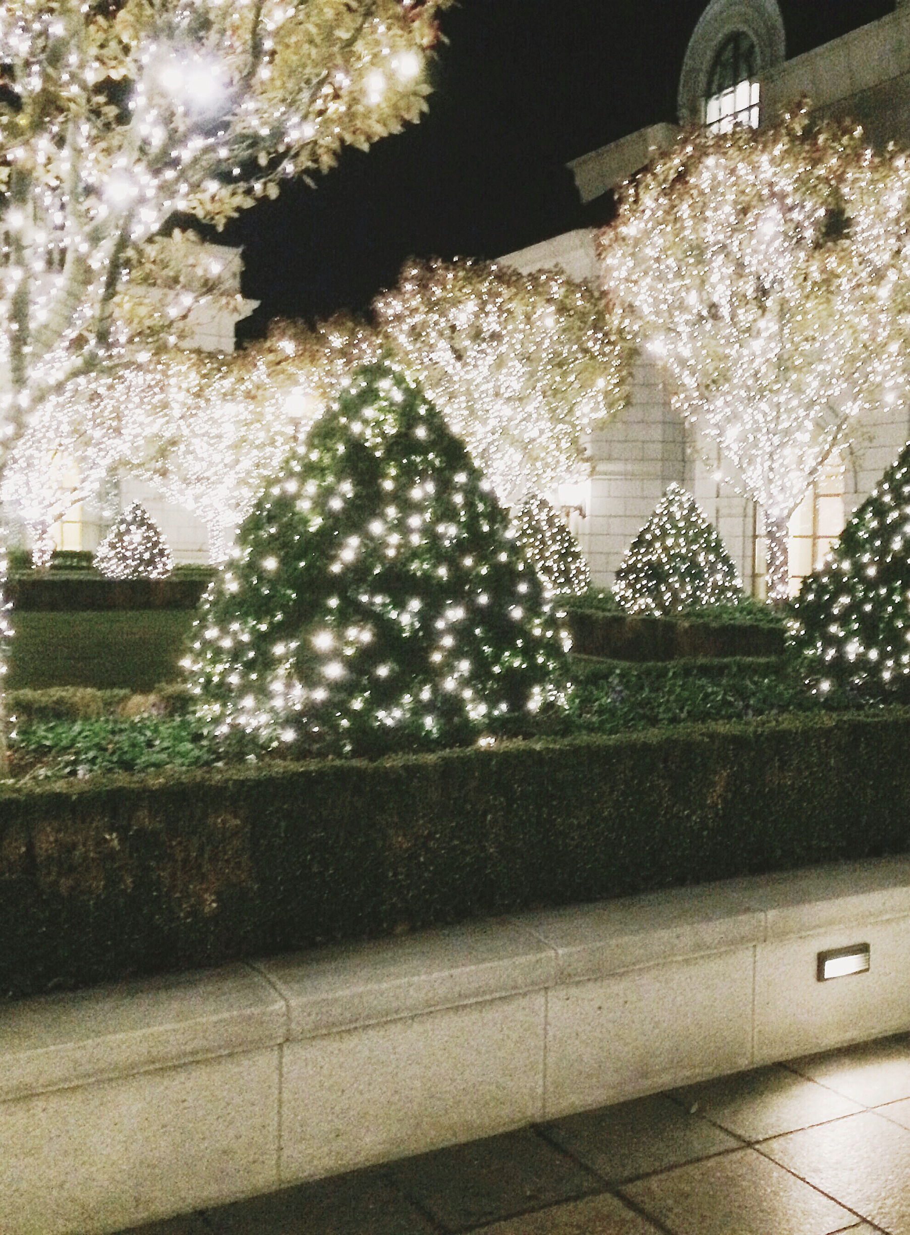 The grounds at The Grand America, decked out in holiday splendor
