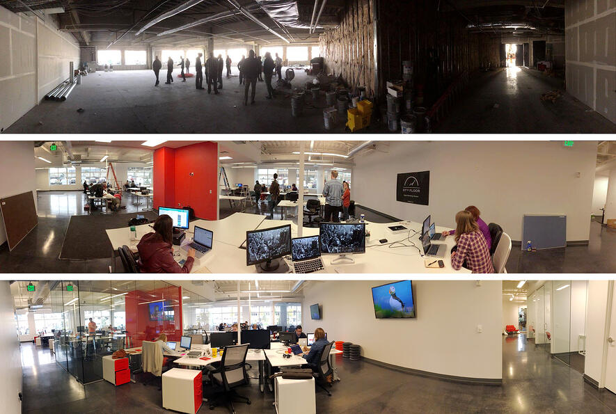 97th Floor's new, larger Thanksgiving Park office at progressive stages of development