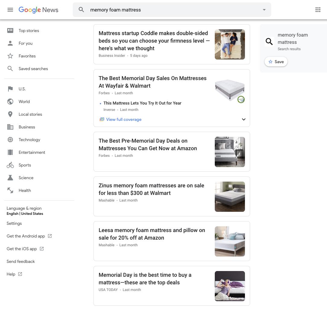 Screen Shot google news mattress